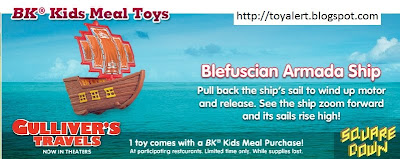 Burger King Gullivers Travels Kids Meal Toys - Blefuscian Armada Ship toy
