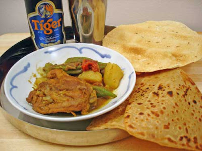 Mom's Malaysian Chicken Curry with naan and ice cold, Tiger Beer