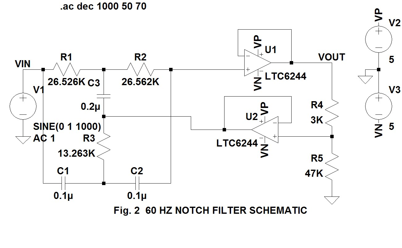 Ogelectronix 60hz Twin T Notch Filter