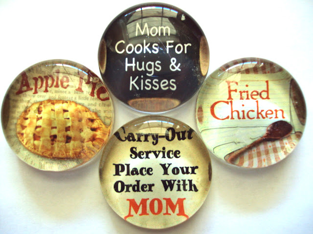 Retro Kitchen Glass Magnets