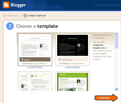 picking an initial template in blogger