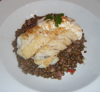 What's cooking tonight? - Roast Cod on a bed of spiced Puy Lentils