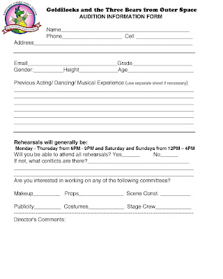 BHSDC Blog Audition Form - fill out and bring with you! - audition form
