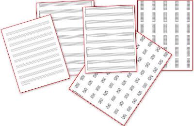modelli carta da musica pentagramma e tablatura da stampare