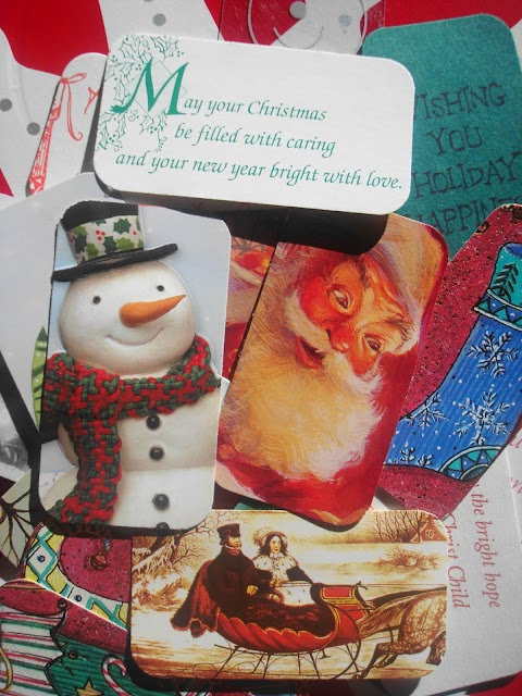 tags made out of Christmas cards
