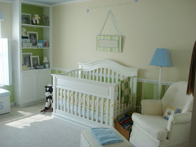 apple green and blue nursery