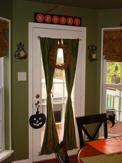 Privacy drapes on glass door
