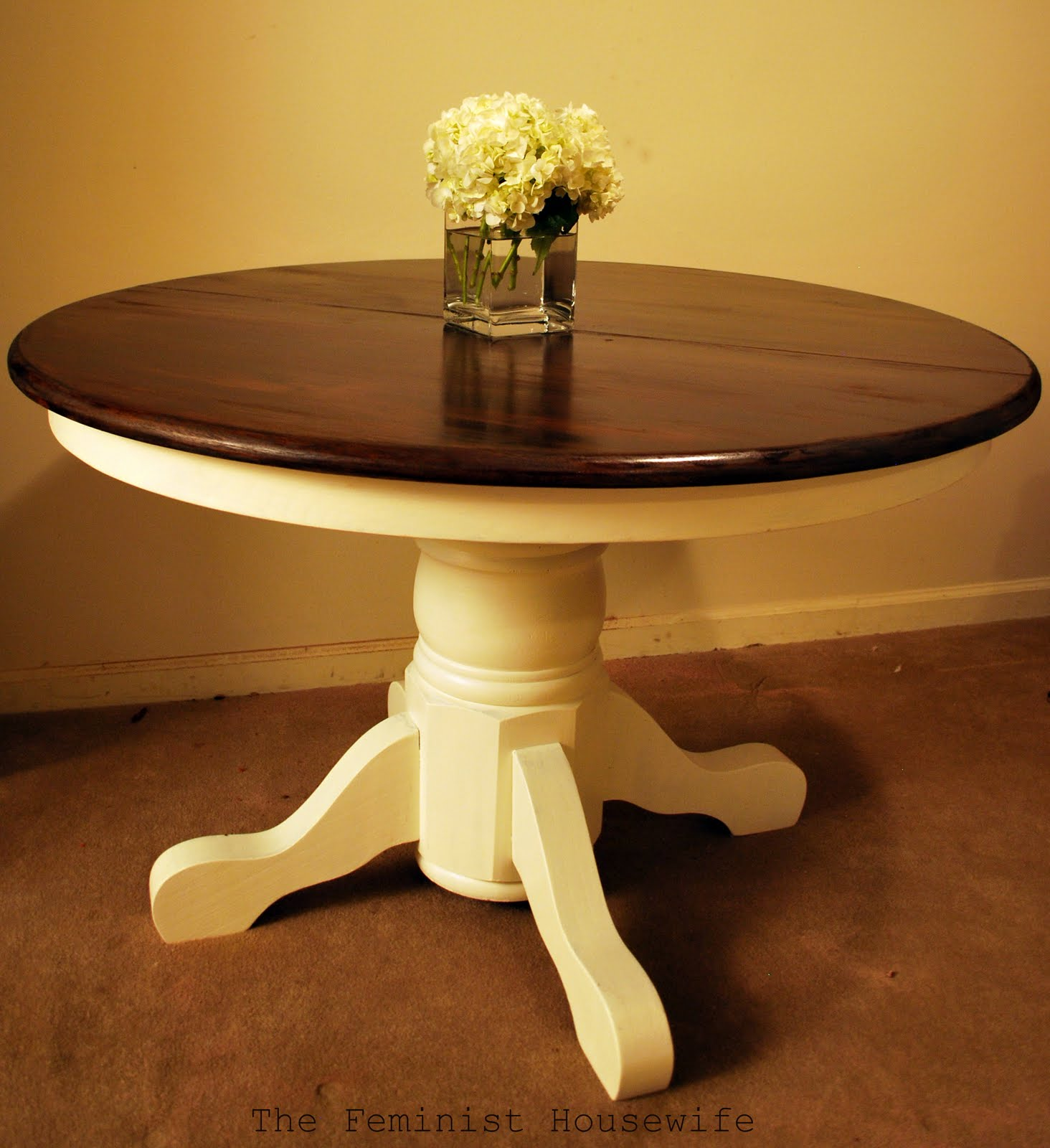 So, I chose to do a stain/paint combo with a dark stained top and ...