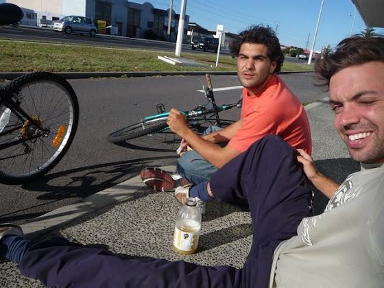 Aquí estamos con las bicicletas del HarbourSide en Tauranga