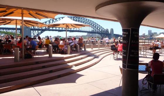 Los comercios abajo del Opera House en Sidney