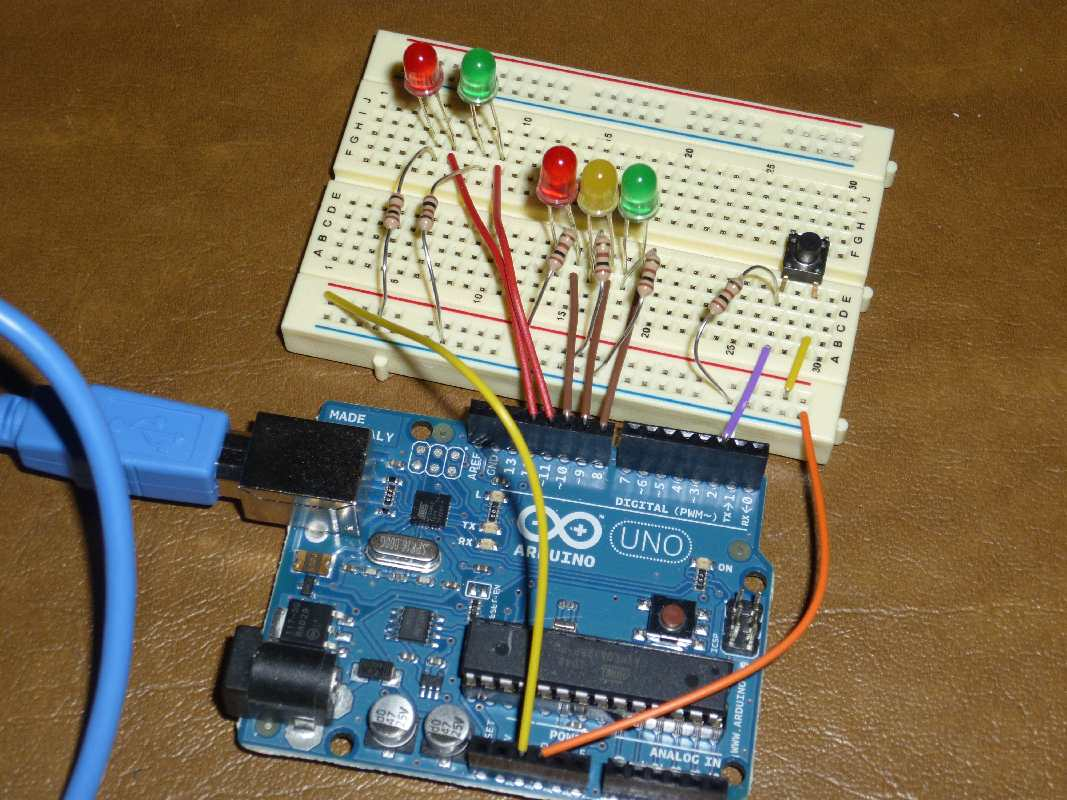 Hands On Arduino Project 4 Interactive Traffic Lights Is A Simple Flashing Led Circuit Operating The Breadboard