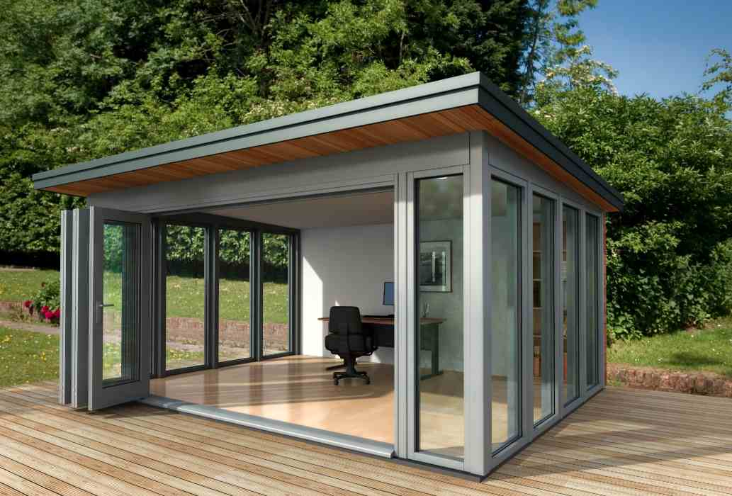 Shedworking glass garden office for Garden office ideas uk