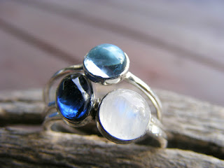 kyanite, rainbow moonstone, sky topaz sterling silver stacking rings