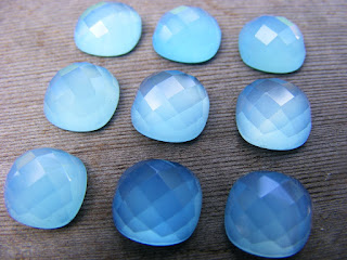 blue faceted chalcedony gemston