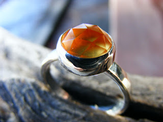 rose cut citrine sterling silver ring