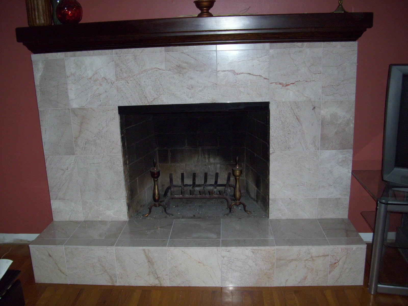 Decor4poor fireplace makeover - Tile over brick fireplace ...