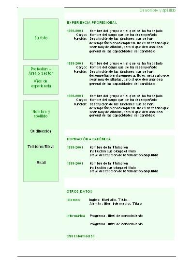 Curriculum Vitae Basico Argentina Para Completar Blank Job