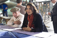 Director Mira Nair on the set of Amelia