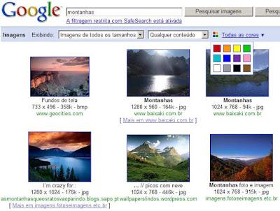 Google Images agora com opção de cores!