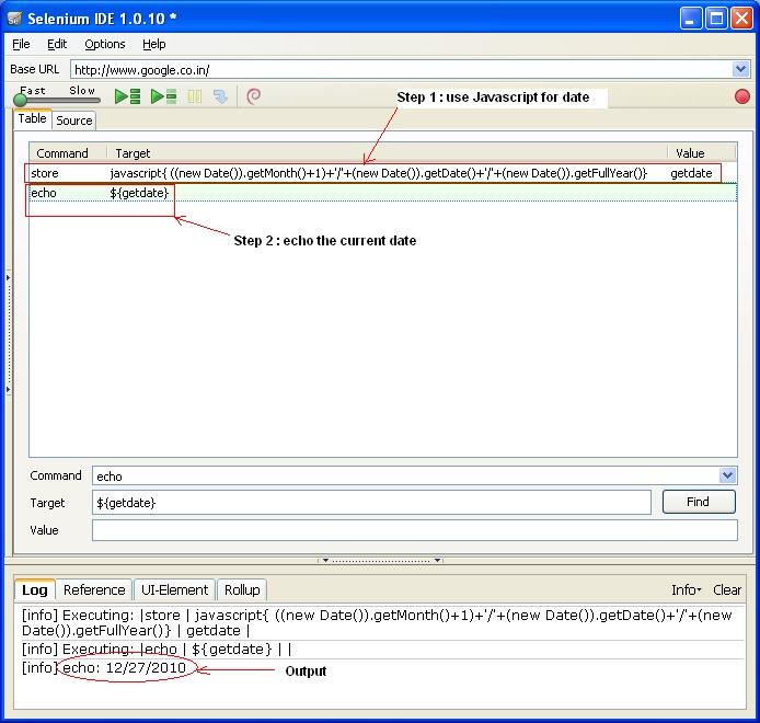 Selenium IDE: Get current system date using java script in Selenium IDE