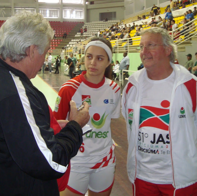 Carlos Mateus Futsal Canada.blogspot.com in Brazil with Unesc player Agda  and Coach Nezinho.