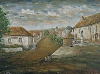 Námestie 1935, olej na sololite, 50x70
