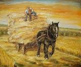 Štyri ročné obdobia s čierným koňom: zvážanie obilia - leto