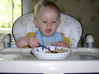 Benjamin eating cereal