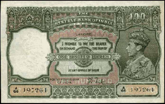 Old Indian Currency 100 Rus Notes Collection