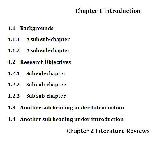 Dissertation numbering chapters