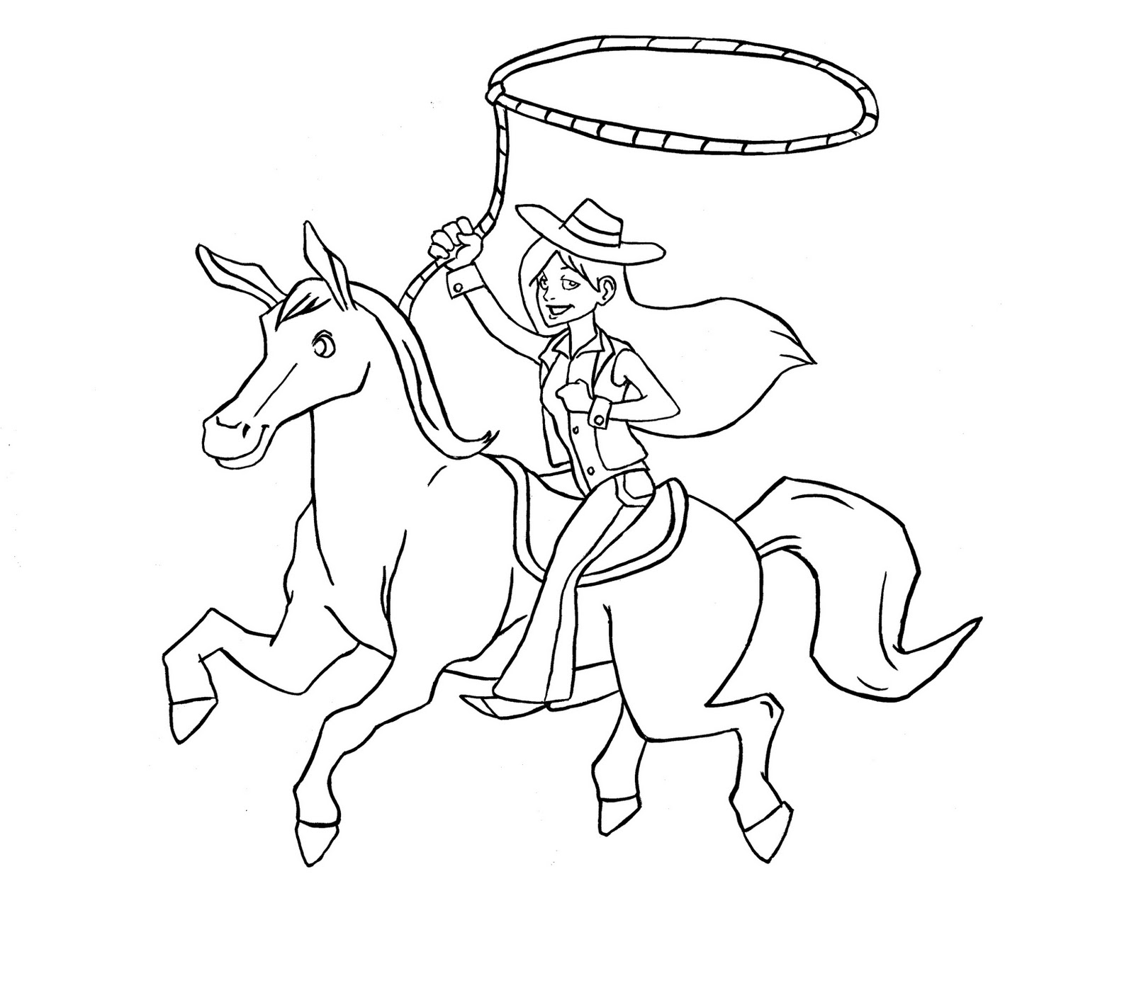 Cowgirl Riding Horse Drawing
