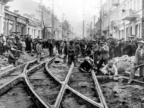 Ремонт трамвайных путей в Симферополе