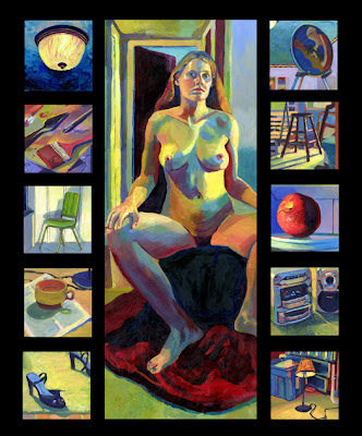 A multiple self portrait oil painting piece with figure in center, still lifes and interior paintings of lights, paintbrushes chairs, cup, shoes, paintings, fruit, stereo and lamp
