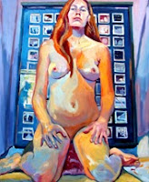 Nude self portrait oil painting, in front of tornado drawings, reflecting cat in window