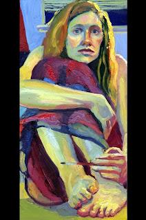 Self Portrait oil painting sitting on floor, painting in maroon skirt.