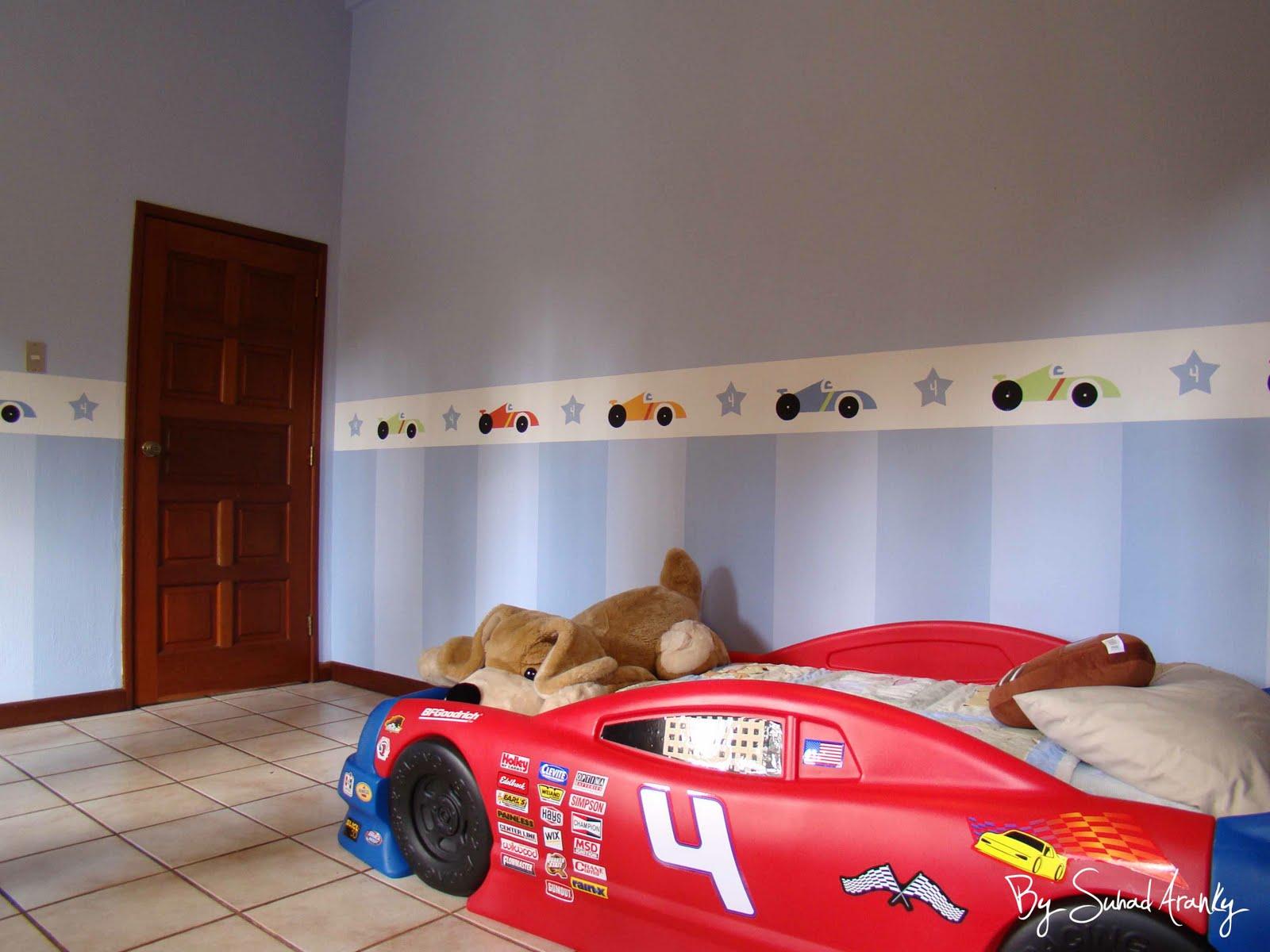 Murales en Dormitorios: Cuarto niño (border carritos)
