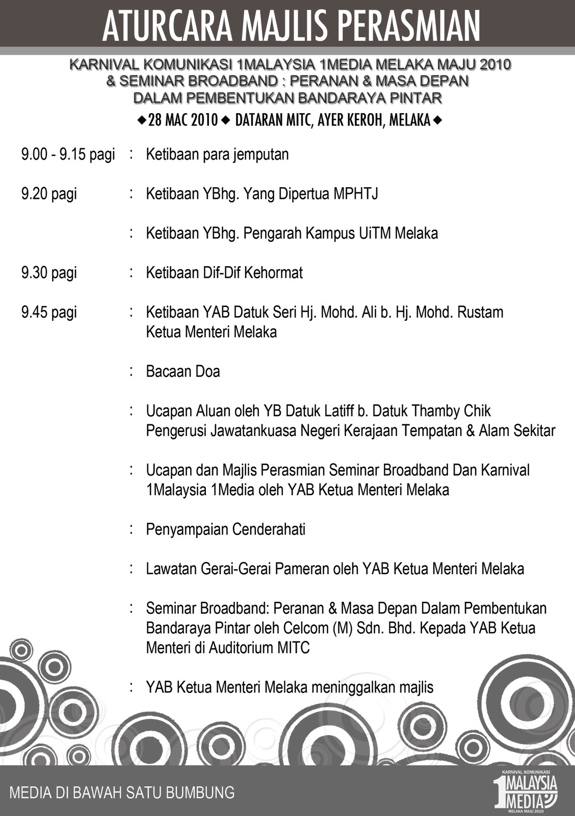 Atucara Majlis Perasmian Karnival 1 Malaysia 1 Media