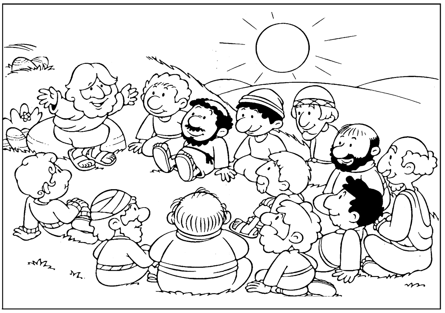 Jesus With Disciples Coloring Page
