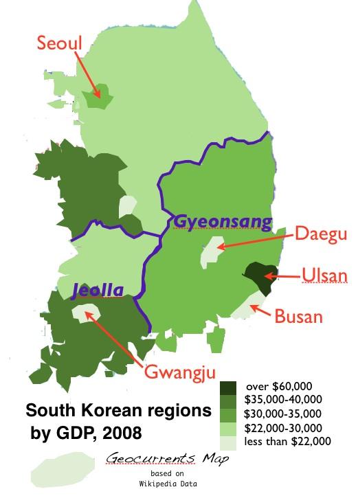 Ulsan Korea Map.South Korea S Shifting Economic Geography Geocurrents