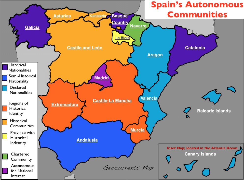 Map Of Spain Showing Regions.The Nation Nationalities And Autonomous Regions In Spain