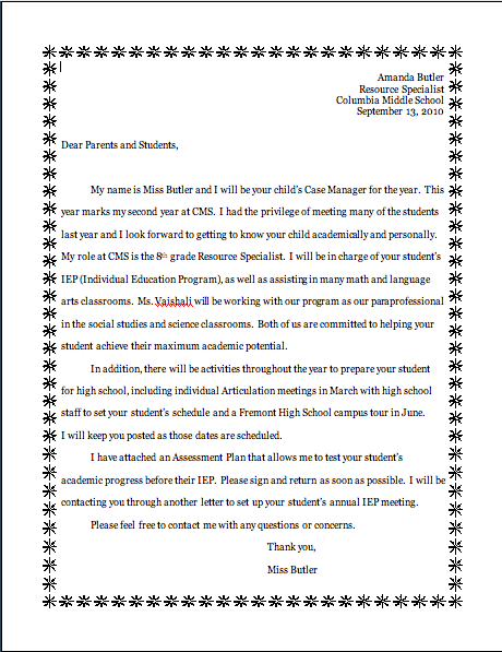 Teacher Introduction Letter To Parents | Tattoos Design Gallery