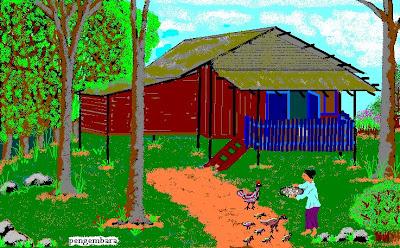 Lukisan Digital Rumah Kampung Gambar