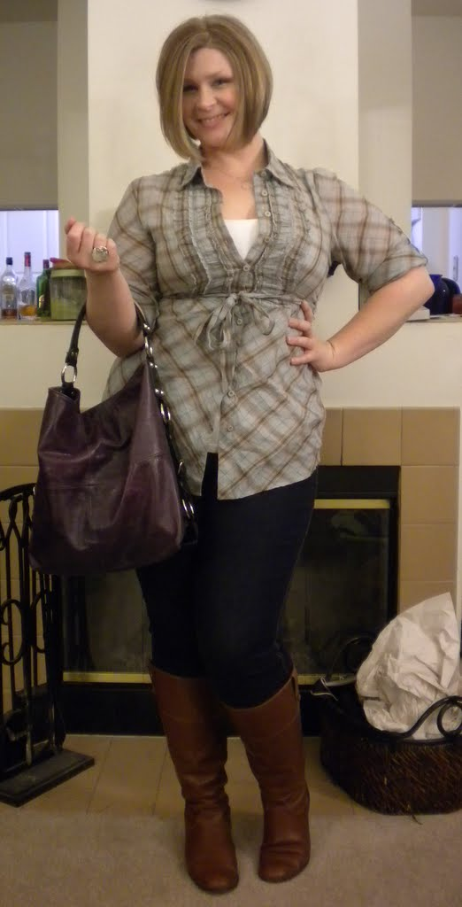 a21ebd811cf Slanted plaid blouse - Odille (Anthropologie) - Cream cami - LOFT    Jeggings - Lane Bryant   Boots - Ciao Bella (via DSW)   Grape