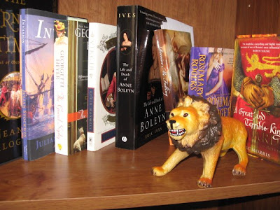 My son made me take many pictures of two of his lions with my new books