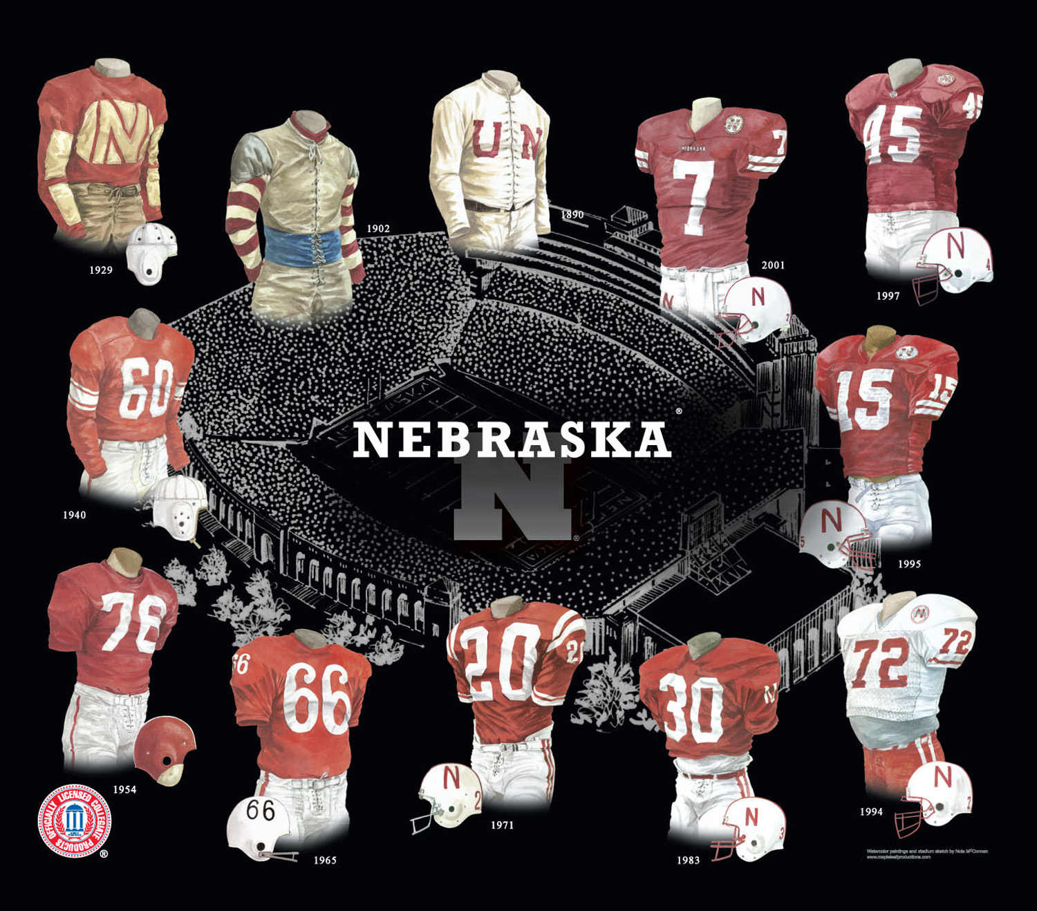 meet 2499b 92ec8 University of Nebraska Cornhuskers Football Uniform and Team ...