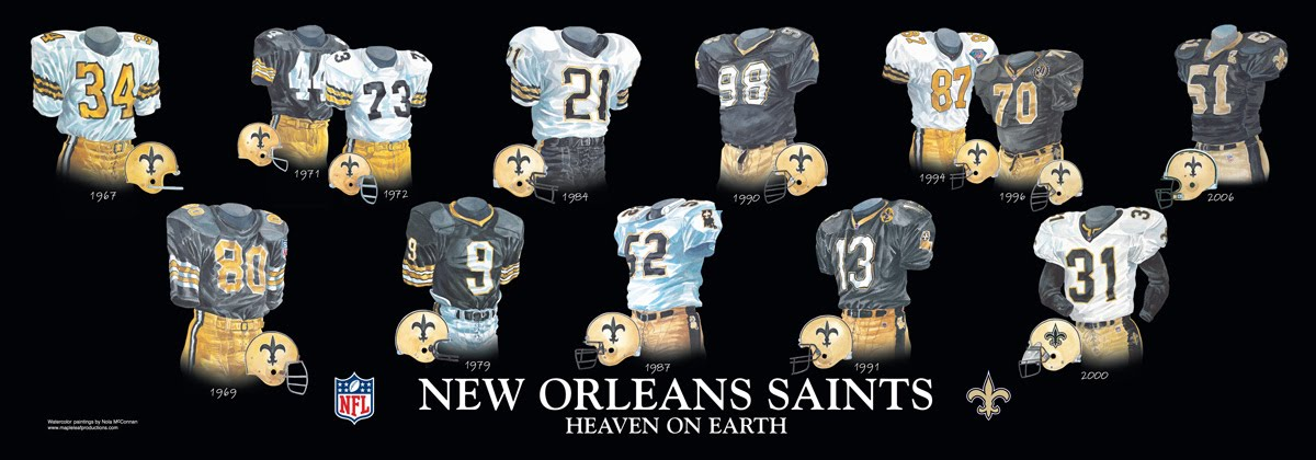 watch 883dd 52440 New Orleans Saints Uniform and Team History | Heritage ...