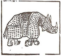 Rhinoceros, engraving by Giovanni Giacomo Penni, 1515