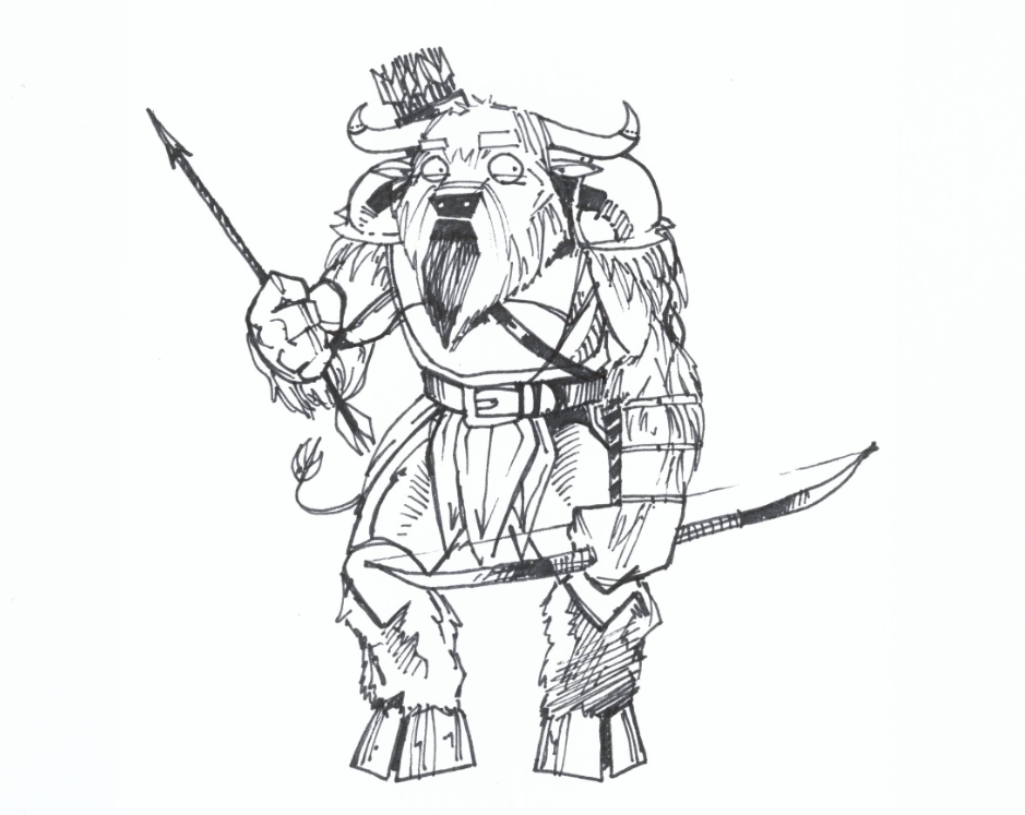 Quality Doodles by Kyle: Minotaur with Bow