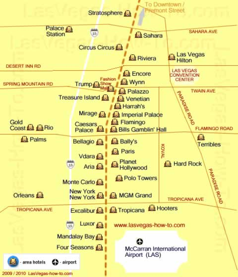 map showing las vegas hotels