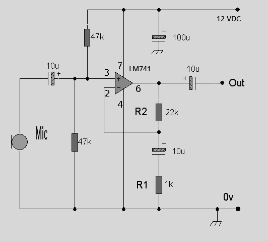 single power supply suitable for dynamic or electret microphones
